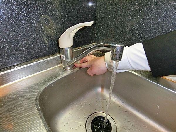 ③キッチン水栓の水を出して各所から漏水がないか確認。
