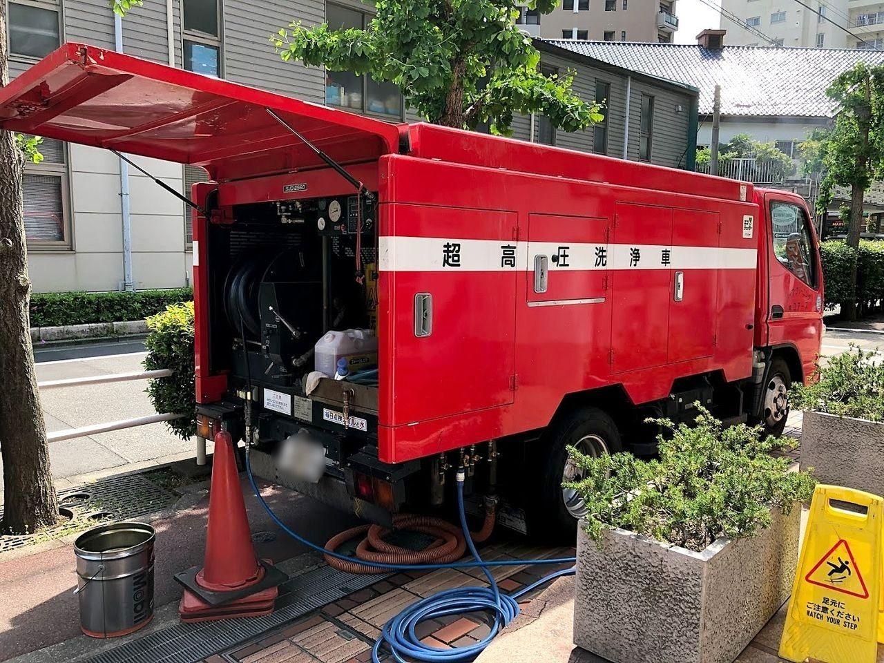 排水管高圧洗浄の実施