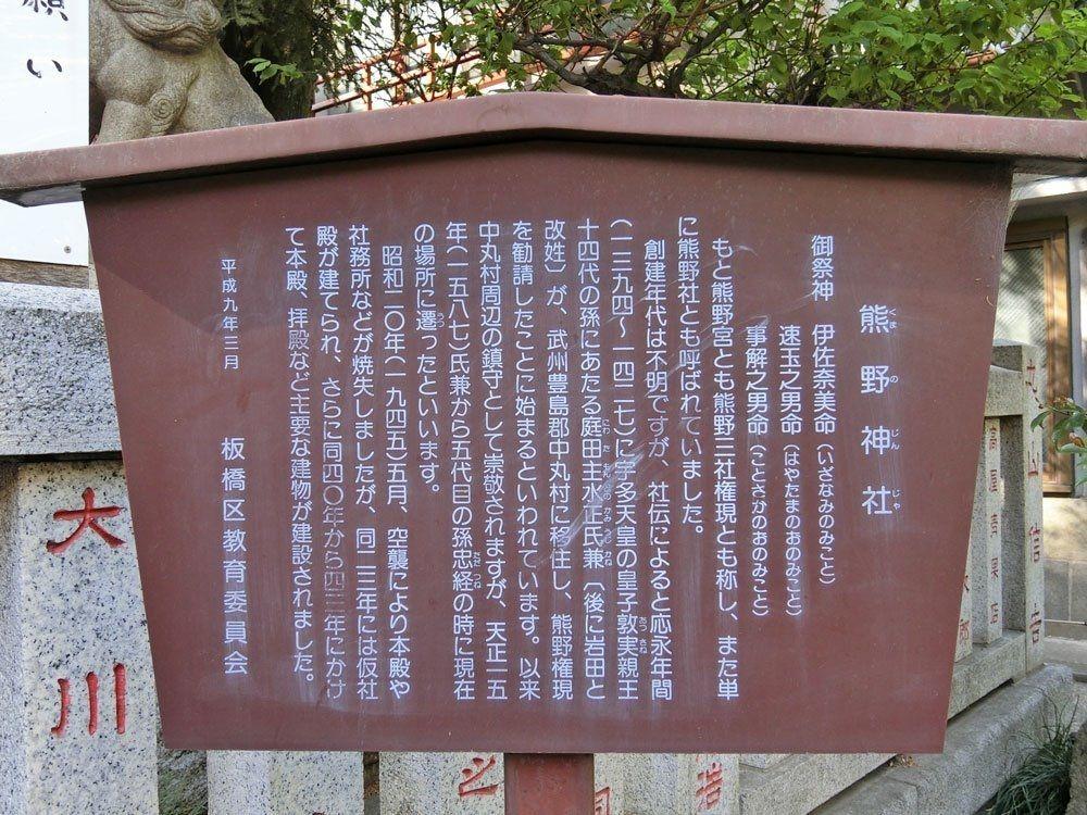 熊野神社(板橋区熊野町)の案内板