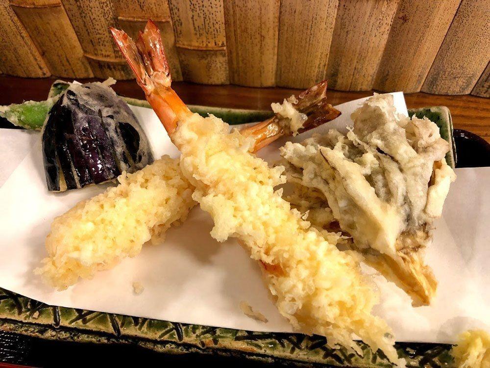 天然海老2本・舞茸・茄子・シシトウ