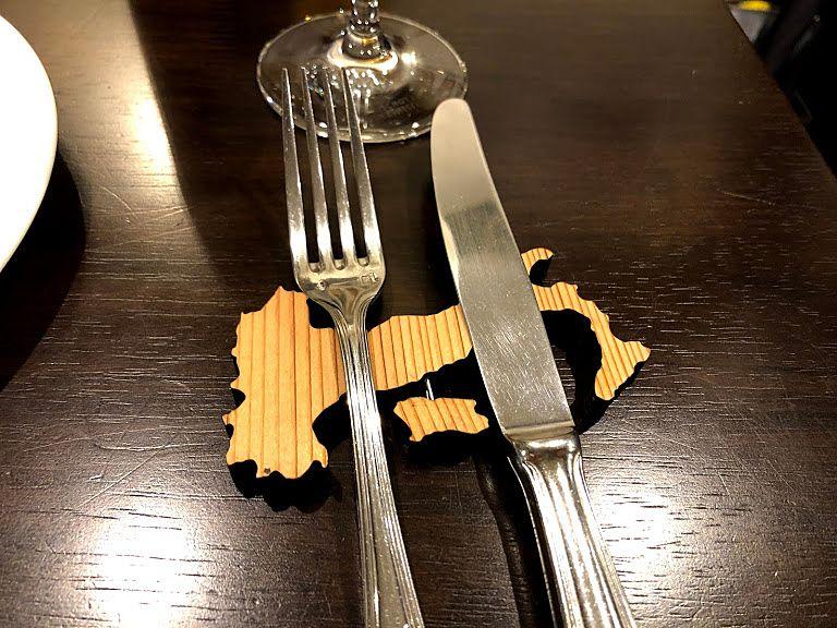 イタリアの形をしたフォーク・ナイフ置き