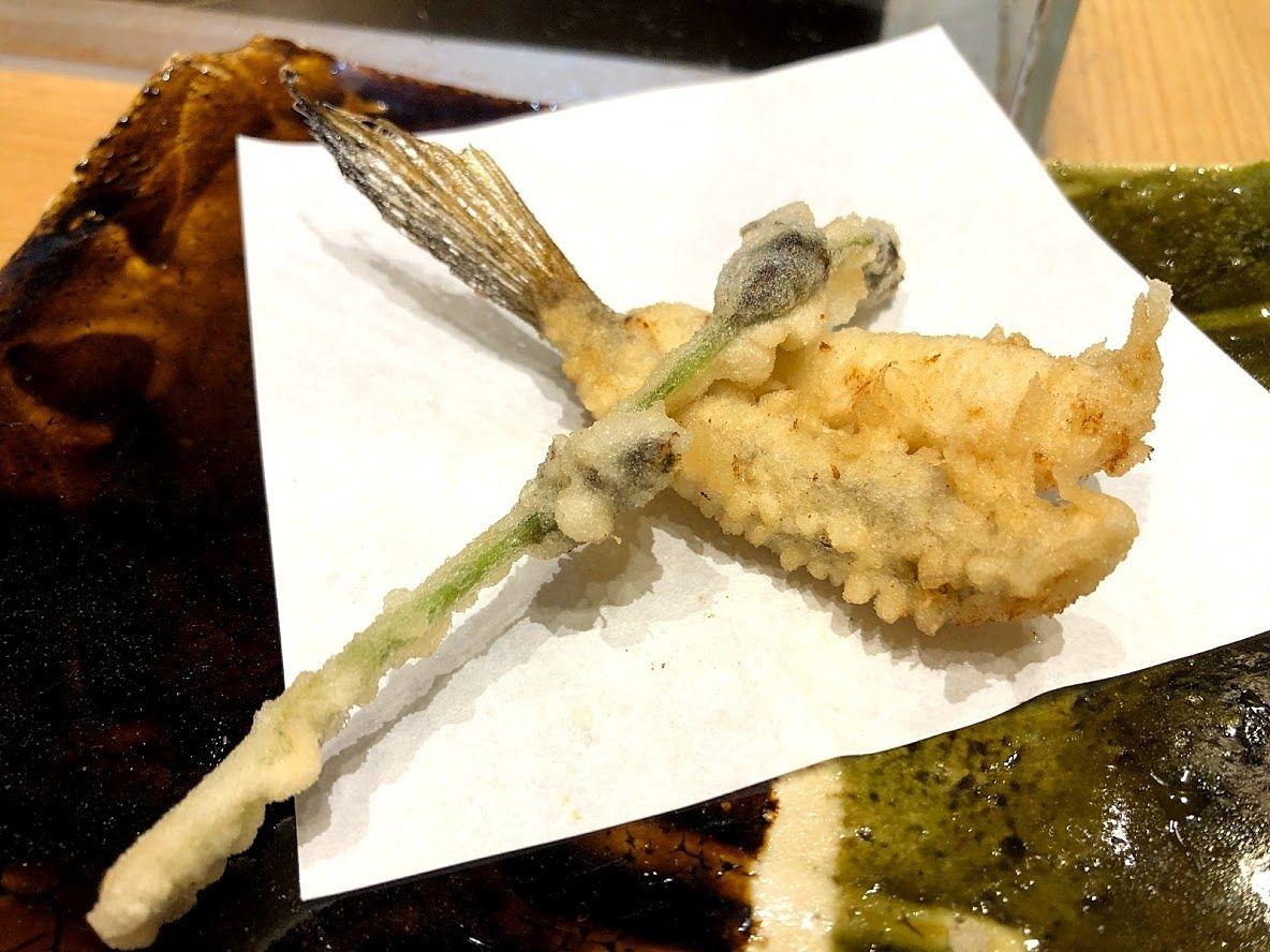 山菜のミズとメゴチ