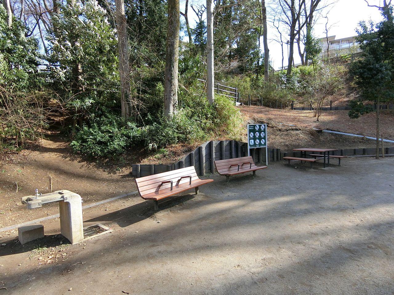 西台公園のベンチ・水飲み場