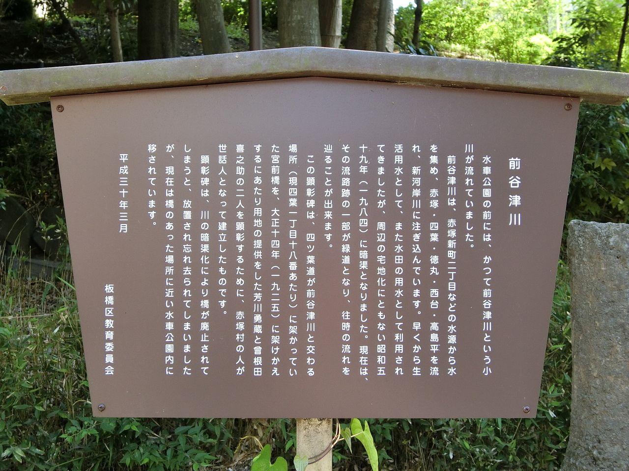 前谷津川(まえやつがわ)の説明看板