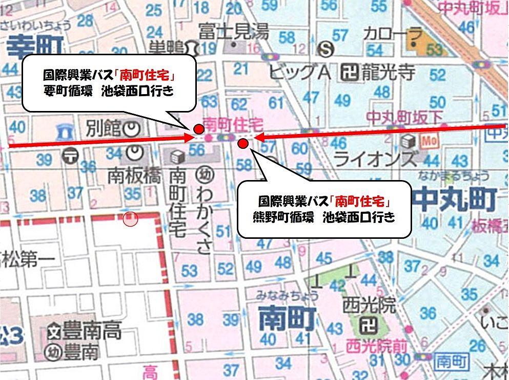 国際興業バス「南町住宅」バス停の位置図